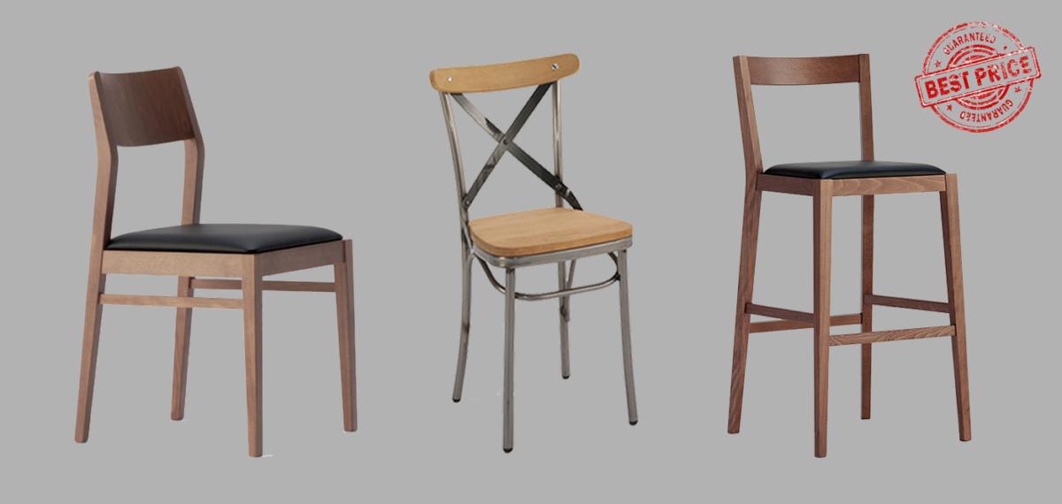Stolice u kombinaciji metala i drveta, različitih boja, odličnog kvaliteta.